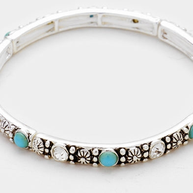 Antique Silver Faux Turquoise Flowers Crystal Stretch Bracelet