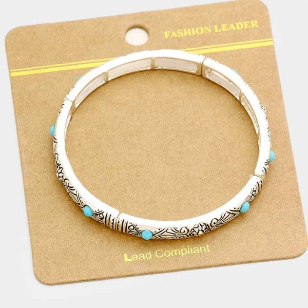 Turquoise Colored Stones & Crystal Embossed Antique Silver Stretch Bracelet