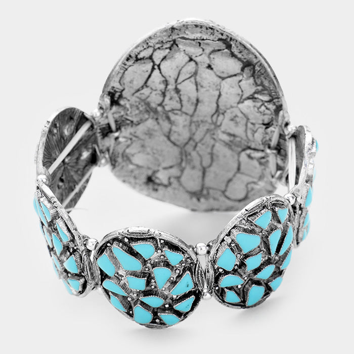 Tribal Blue Enamel Cluster Stretch Bracelet