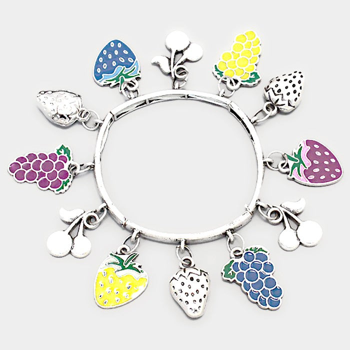 Fruits Enamel Silver Stretch Bracelet