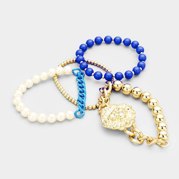 Lion Blue & Gold Set of 4 Stretch Bracelets