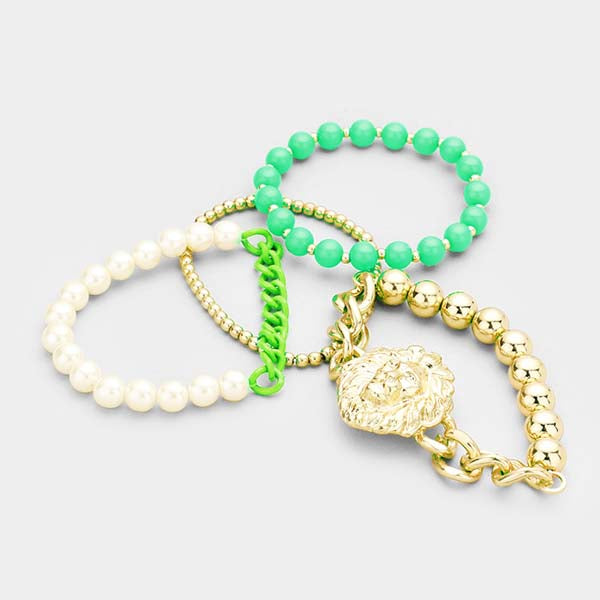 Lion Green & Gold Set of 4 Stretch Bracelets