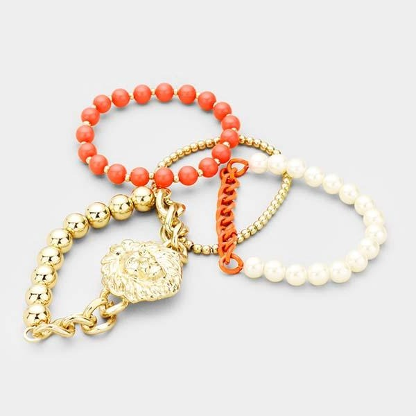 Lion Orange & Gold Set of 4 Stretch Bracelets