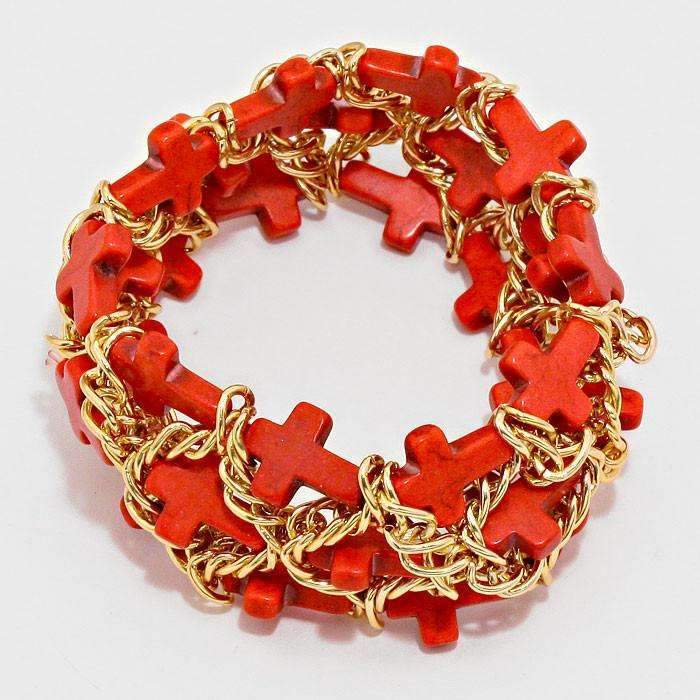 Cross Cluster Coral & Gold Stretch Bracelet