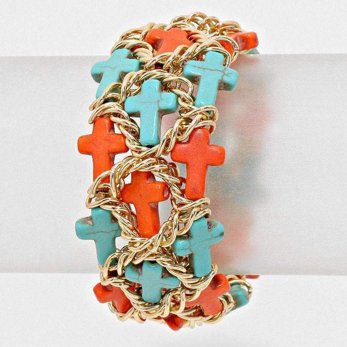 Cross Shaped Cluster of Coral & Turquoise Gold Stretch Bracelet