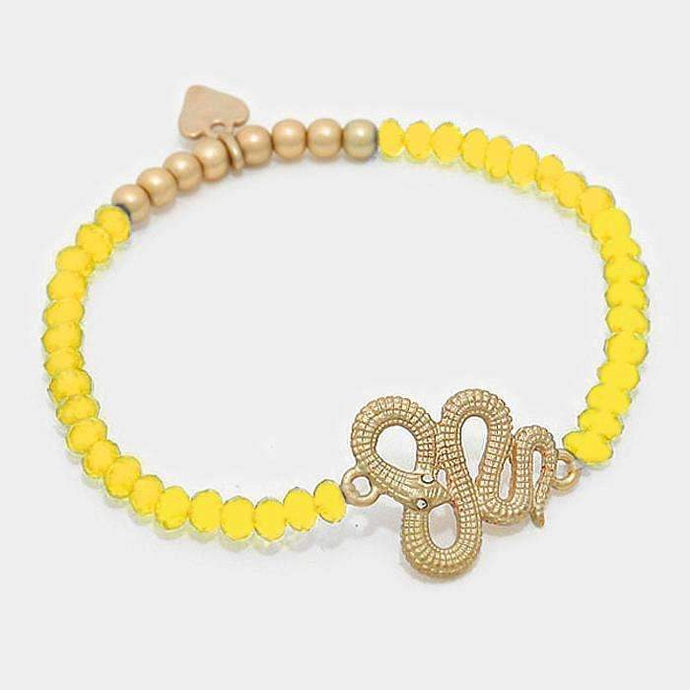 Snake Beaded Stretch Yellow & Gold Fashion Bracelet