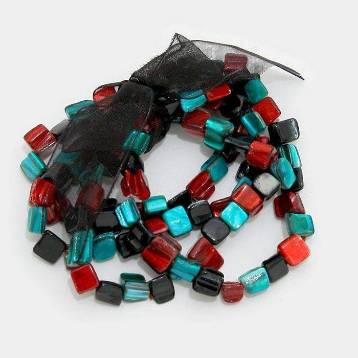 Turquoise, Red, Black 4 Layers Beaded Stack Stretch Bracelets