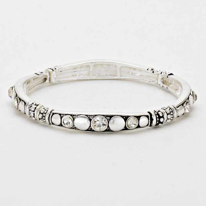 Crystal Accented Burnished Stretchable Silver Tone Bracelet
