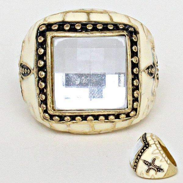 Black, Ivory, Gold Fleur de Lis Statement Ring Size 9