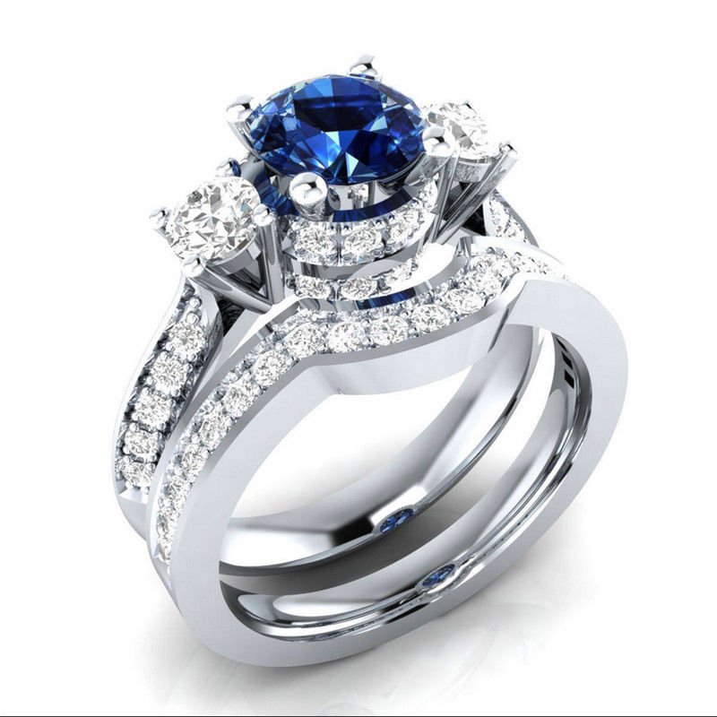 Simulated Blue Sapphire 1.85ct .925 Silver Plated Bridal Ring Set Size 9