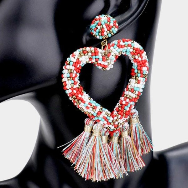 Seed Bead Heart Multi Tassel Earrings