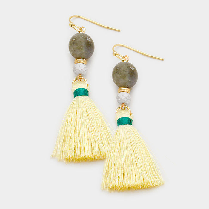 Semi Precious Cream Yellow Tassel White Bead Gold Pierced Earrings
