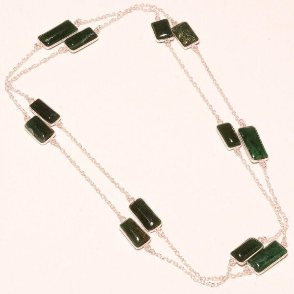Serpentine Handmade Green Gemstone Silver Plated Necklace 36""