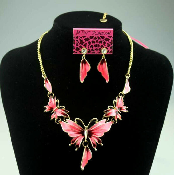 Betsey Johnson Pink Butterfly Earring & Necklace Set