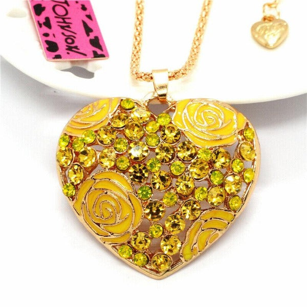 Betsey Johnson Heart Yellow Rose Rhinestone Pendant Necklace