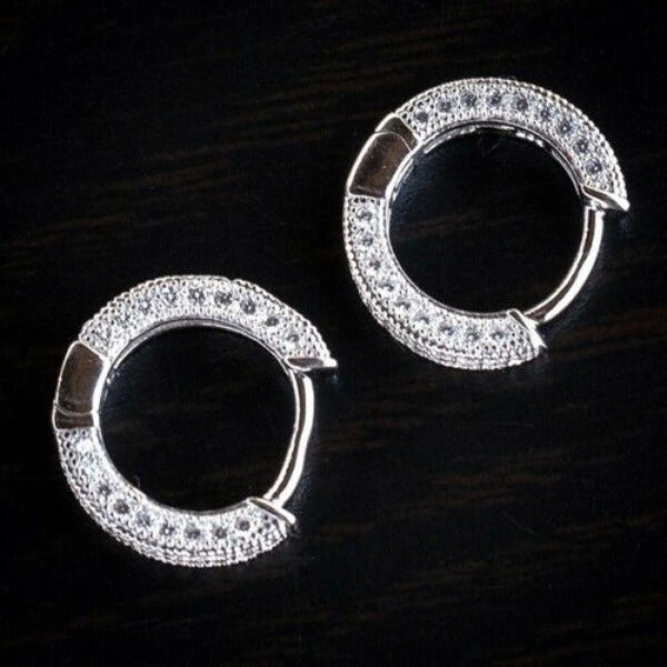Inlaid Crystals Silver Tone Small Hoop Earrings