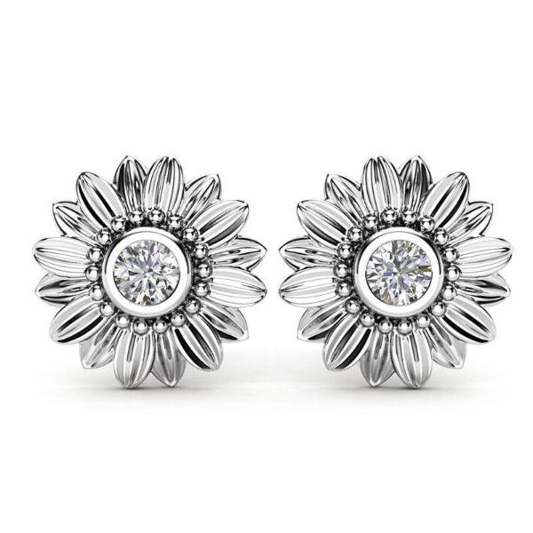 Sunflower Round Cut White Crystal Stone Silver Earrings