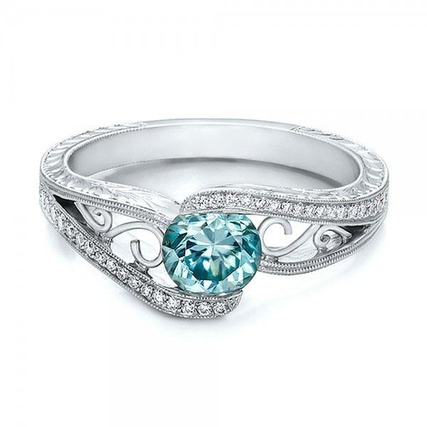 Blue Aquamarine (Faux) & White Topaz (Faux) 1.45CT Silver Tone Ring Size 10