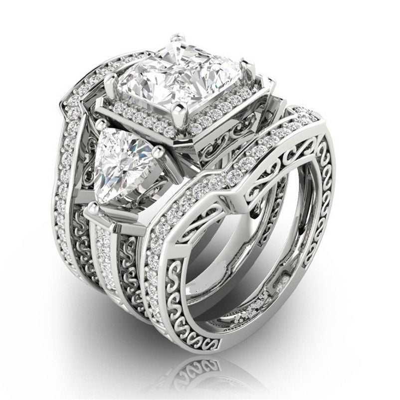 Elegant Square Cut Simulated Diamond Silver Bridal Ring Set Size 7