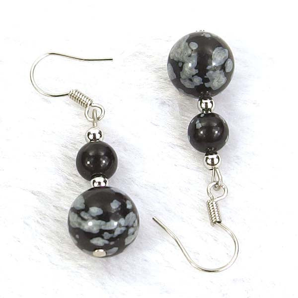 Snowflake Jasper Natural Gemstone Silver Earrings
