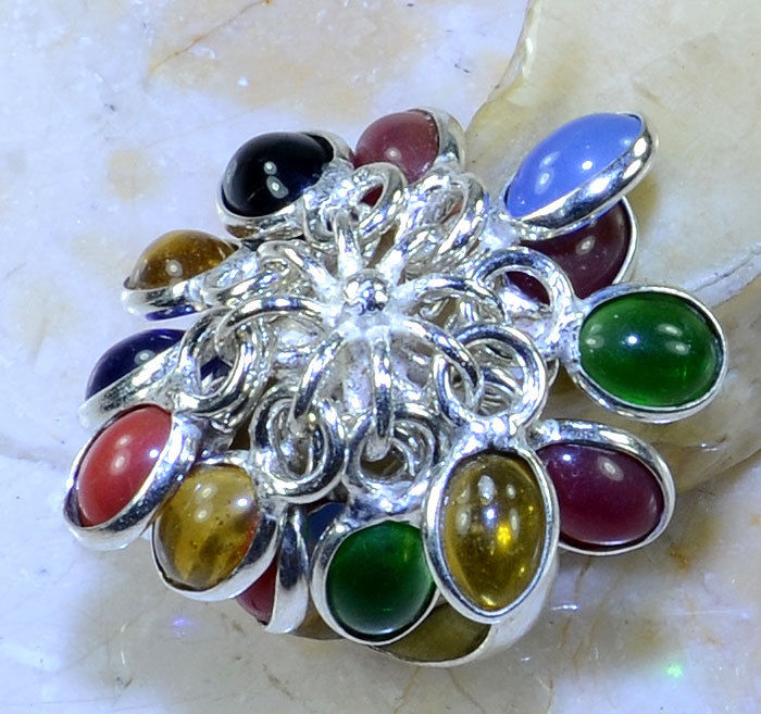 Multi-Colored Oval Gemstone Dangle Silver Plated Ring Size 7