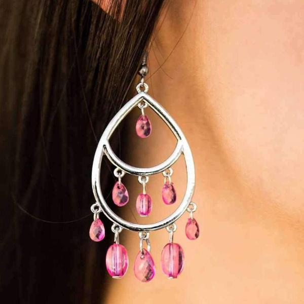"""Sparkling Soiree - Pink"" Crystal Beads - Silver Sparkle Pierced Earrings"