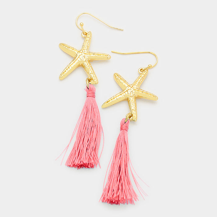 Pink Starfish Tassel Gold Pierced Dangle Earrings