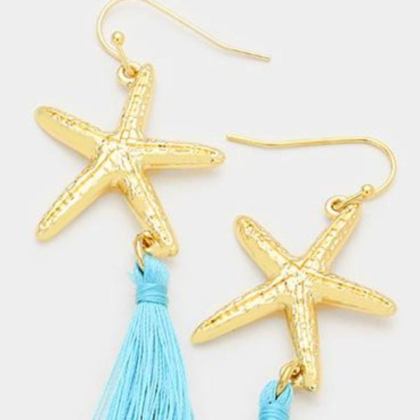 Turquoise Blue Starfish With Tassel Gold Pierced Earrings