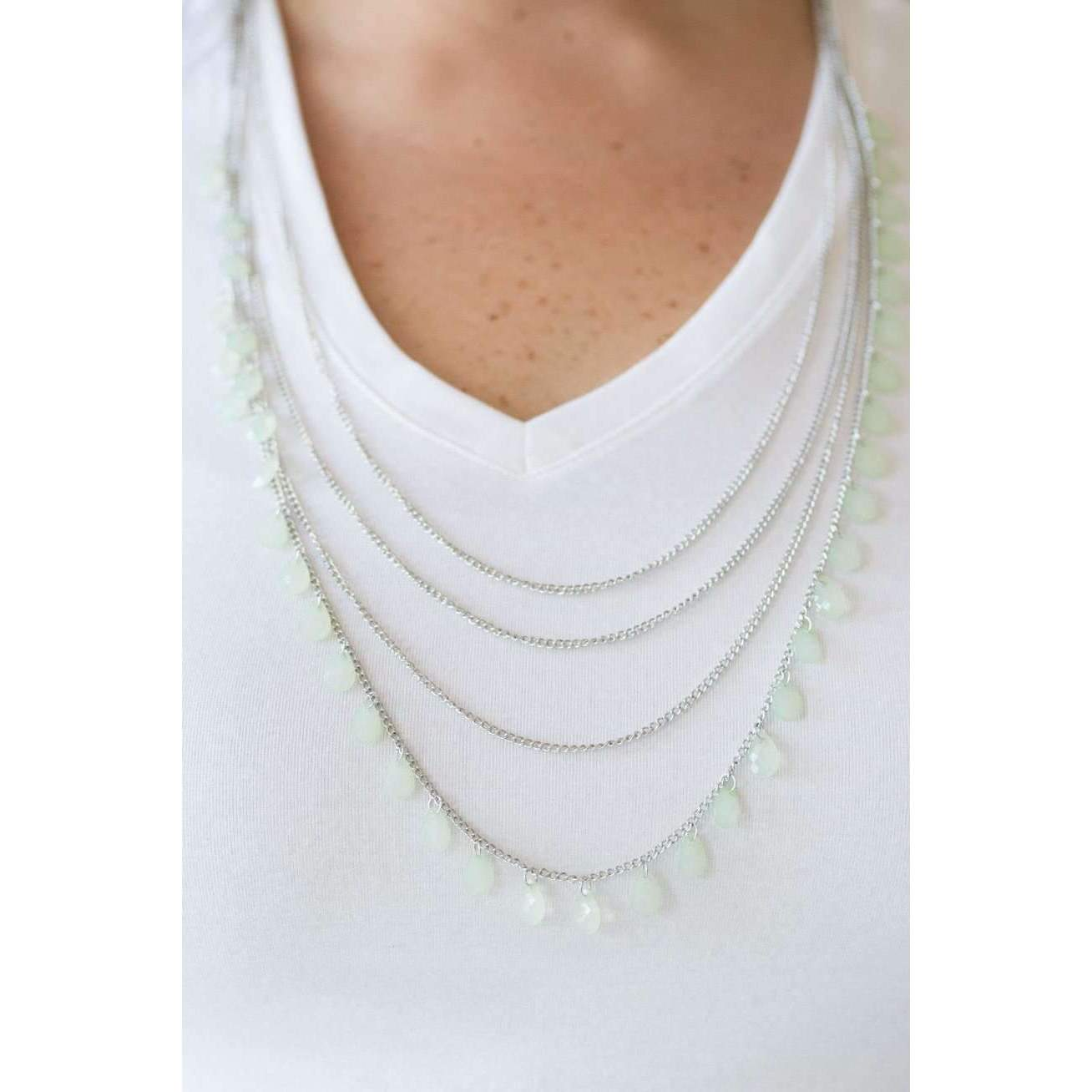 """Summer Showers"" Faceted Green Teardrop Beaded Necklace & Earring Set"