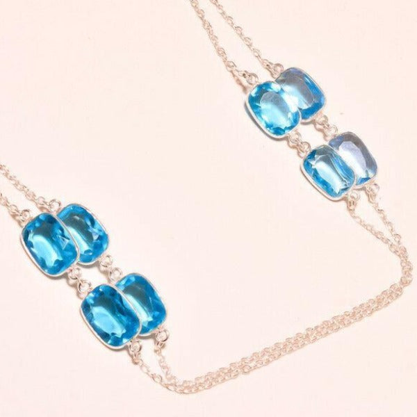 Blue Topaz Handmade Gemstone Silver Plated Necklace 36""