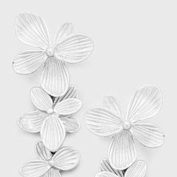 Triple Metal Flower Link Matte Silver Tone Earrings