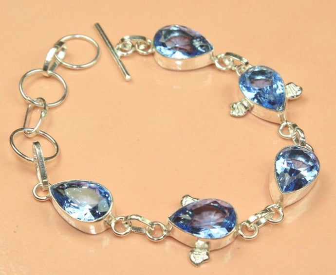 Blue Tanzanite Quartz Handmade Silver Plated Gemstone Bracelet 7 TO 9''