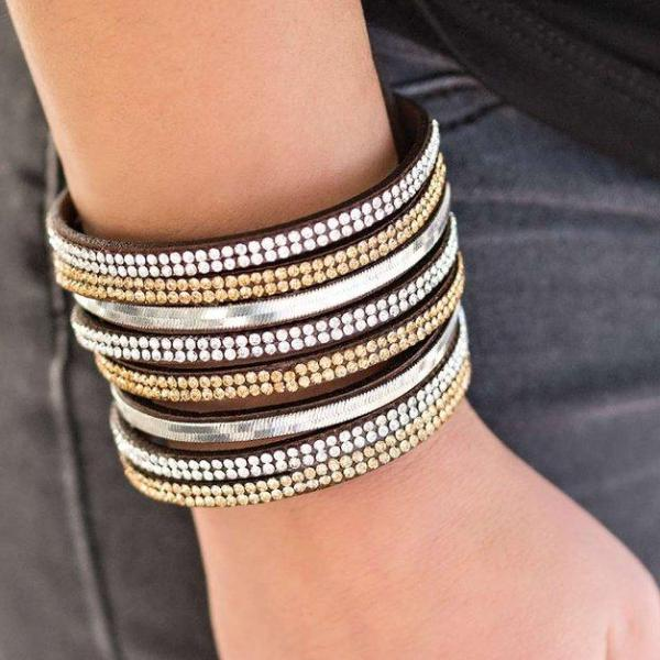 """Thriller"" Dark Brown Suede Rhinestone Silver Chain Sparkle Wrap Bracelet"