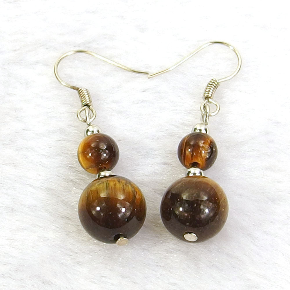 Tiger's Eye Jasper Natural Gemstone Beads Silver Plated Dangle Earrings