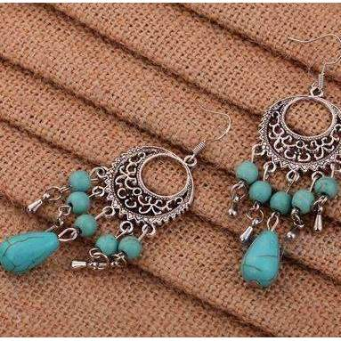 Turquoise Blue Tibetan Silver Flower Pattern Dangle Earrings