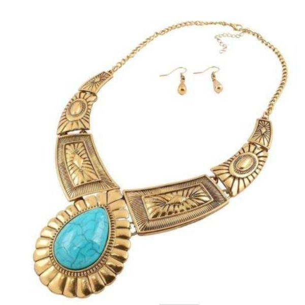 Turquoise Blue Stone Antique Gold Ornate Necklace & Earring Set