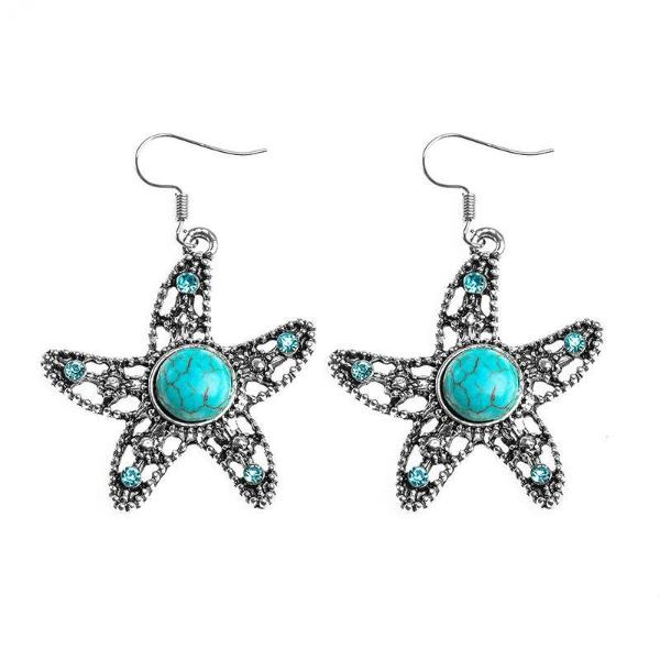 Turquoise (Faux) Star & Blue Rhinestone Silver Dangle Earrings