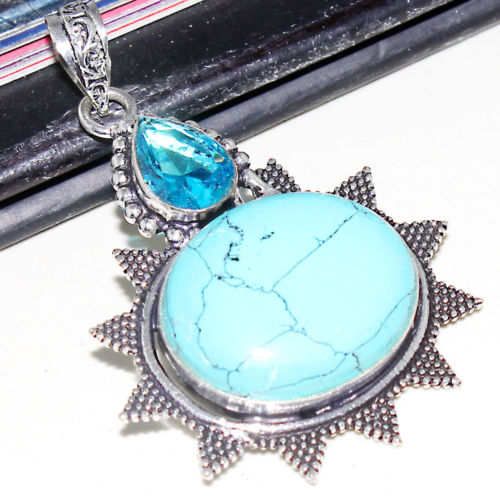 "Blue Turtella Jasper & Blue Topaz Handmade .925 Silver Plated Pendant + 20"" Cord Necklace"