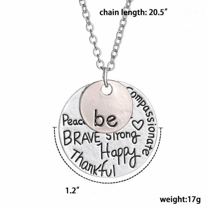 """Be Happy Brave Strong Thankful"" Two Tone Necklace"