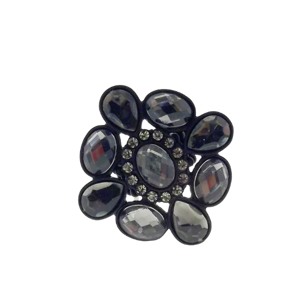 Black Flower Rhinestone Stretch Ring