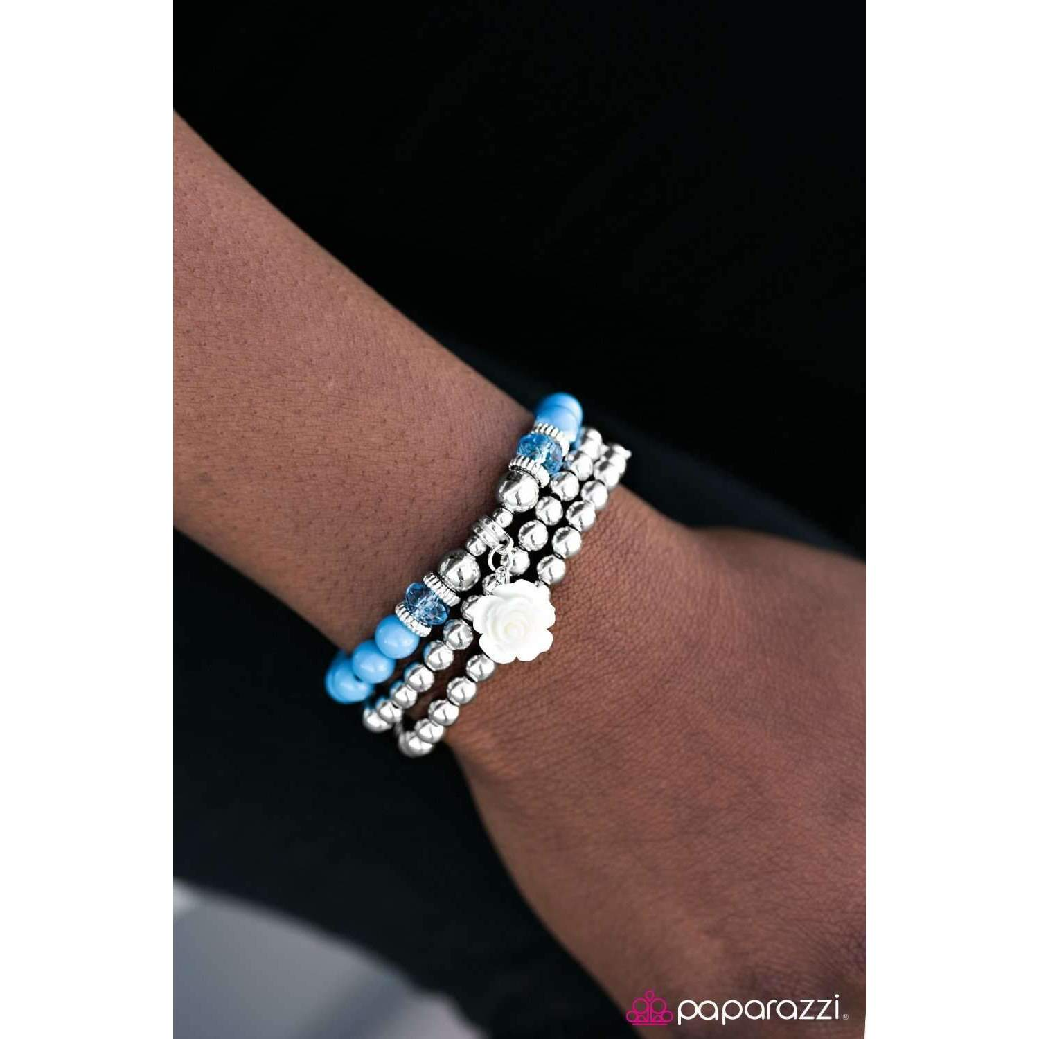 Paparazzi Valley of Flowers Silver & Blue Beads Flower Set of 3 Bracelets