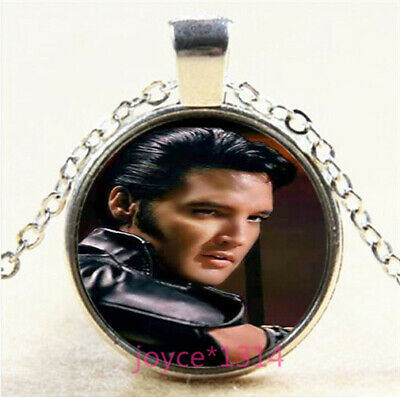Elvis Round Cabochon Glass Silver Tone Necklace