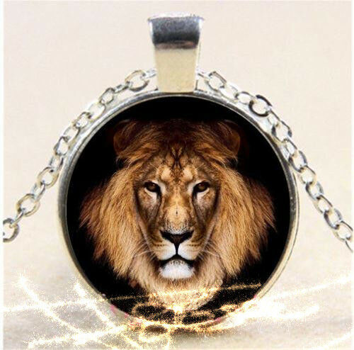 Lion Round Cabochon Glass Silver Tone Necklace