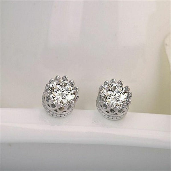 Round White Zircon Crown Setting Silver Plated Stud Earrings