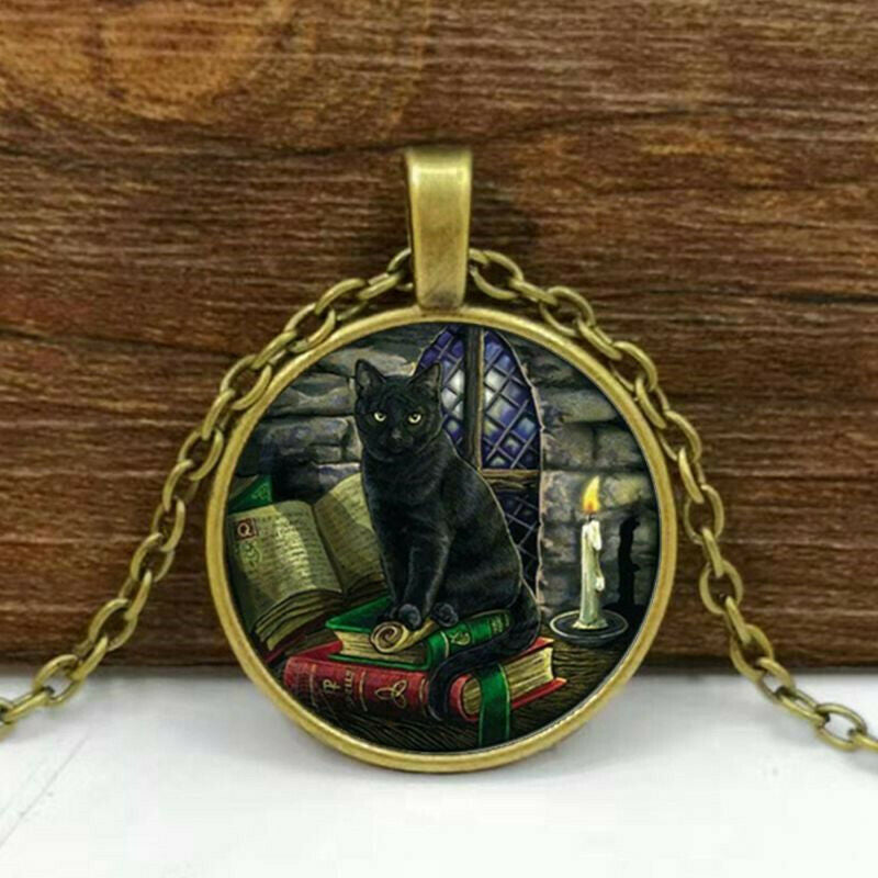 Black Cat Bronze Cabochon Glass Pendant Necklace