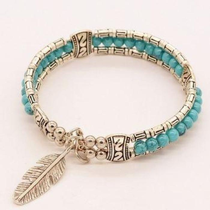 Turquoise Bohemian Feather Silver Bangle Bracelet Size Small