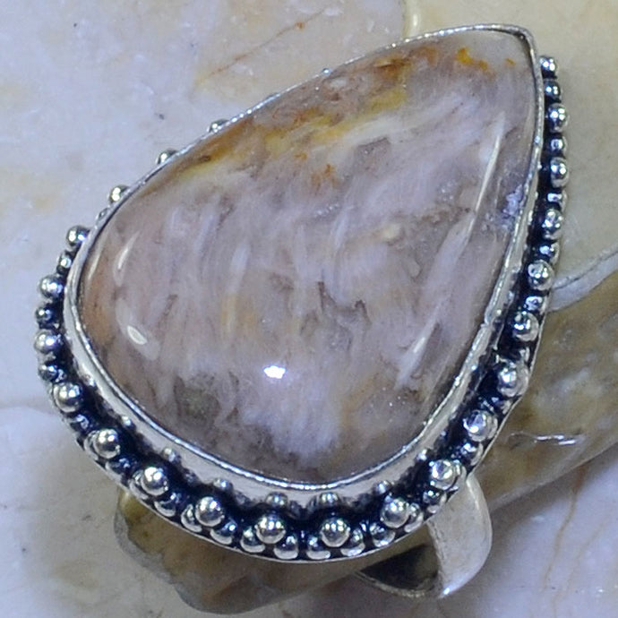 WOODEN JASPER GEMSTONE .925 SILVER PLATED RING SIZE 10