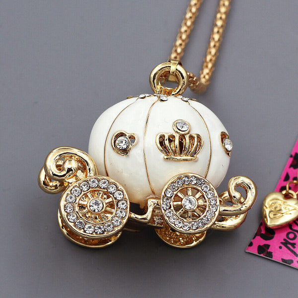 Betsey Johnson Carriage White Enamel Pendant Necklace