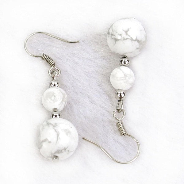 White Turquoise Natural Gemstone Silver Earrings