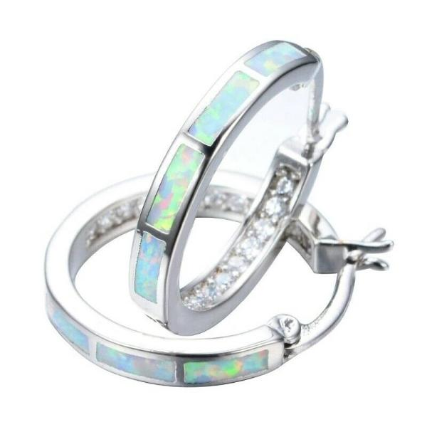 White Fire Artificial Opal White CZ Silver Hoop Earrings